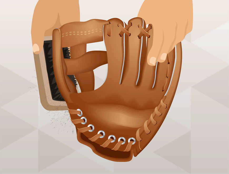 how to clean a baseball glove using a brush